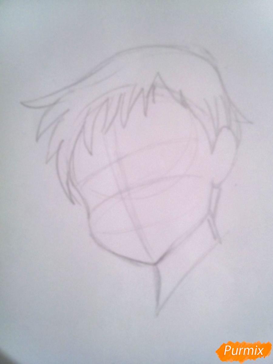 Рисуем Кинга из аниме Семь Смертных Грехов карандашами - шаг 2