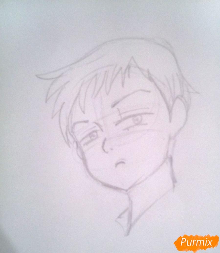 Рисуем Кинга из аниме Семь Смертных Грехов карандашами - шаг 3