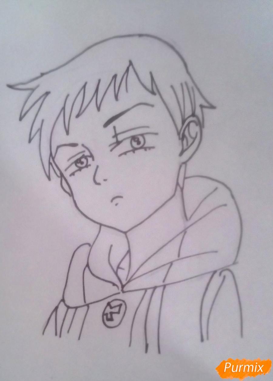 Рисуем Кинга из аниме Семь Смертных Грехов карандашами - шаг 5