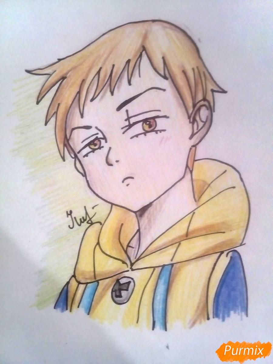 Рисуем Кинга из аниме Семь Смертных Грехов карандашами - шаг 6