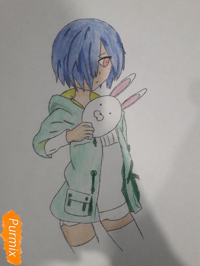 Рисуем Киришима Тоука с маской зайца - шаг 12