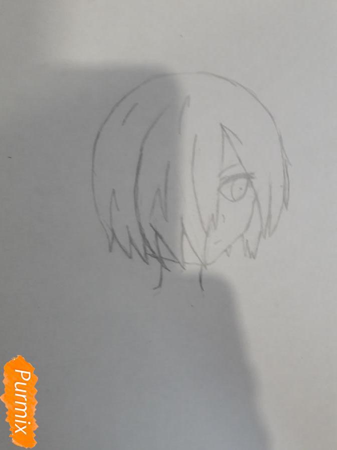Рисуем Киришима Тоука с маской зайца - шаг 3