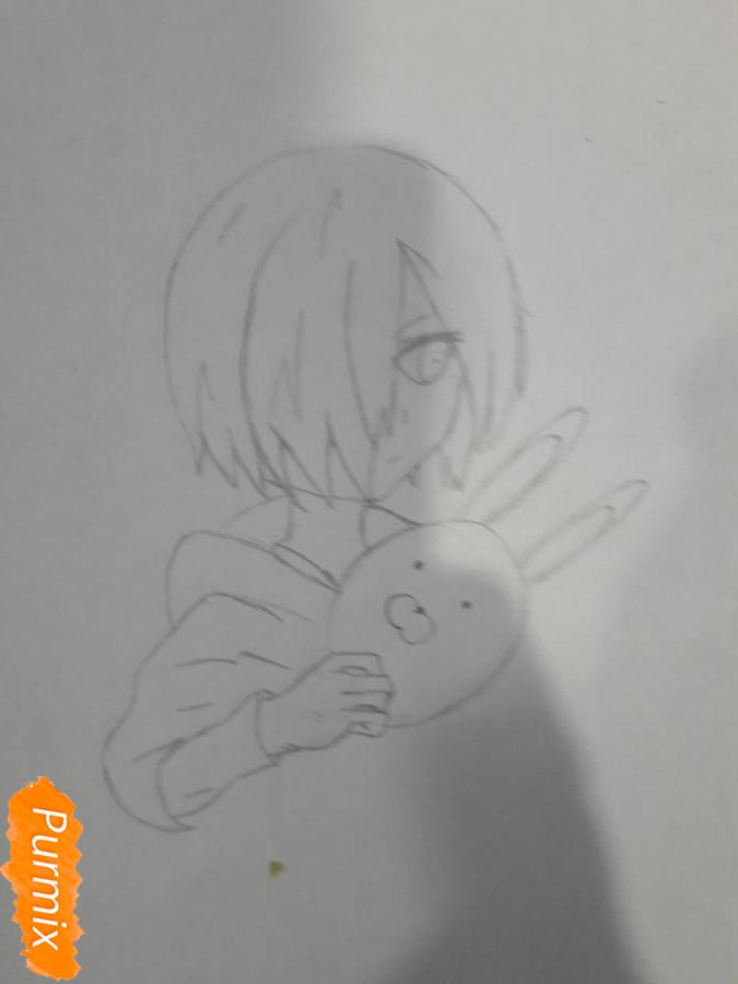 Рисуем Киришима Тоука с маской зайца - шаг 5