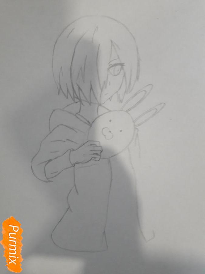 Рисуем Киришима Тоука с маской зайца - шаг 6