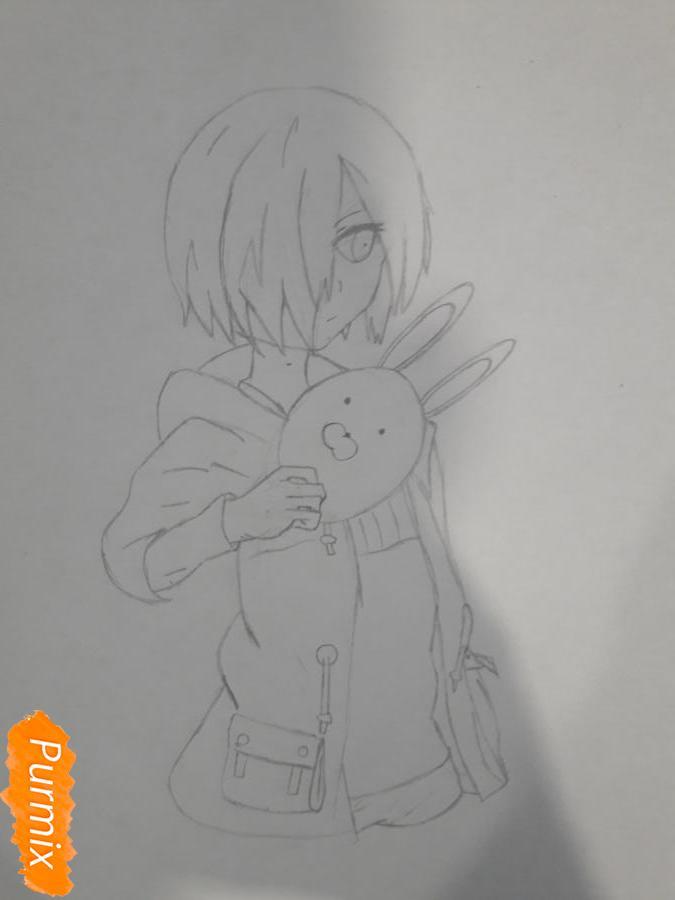 Рисуем Киришима Тоука с маской зайца - шаг 7