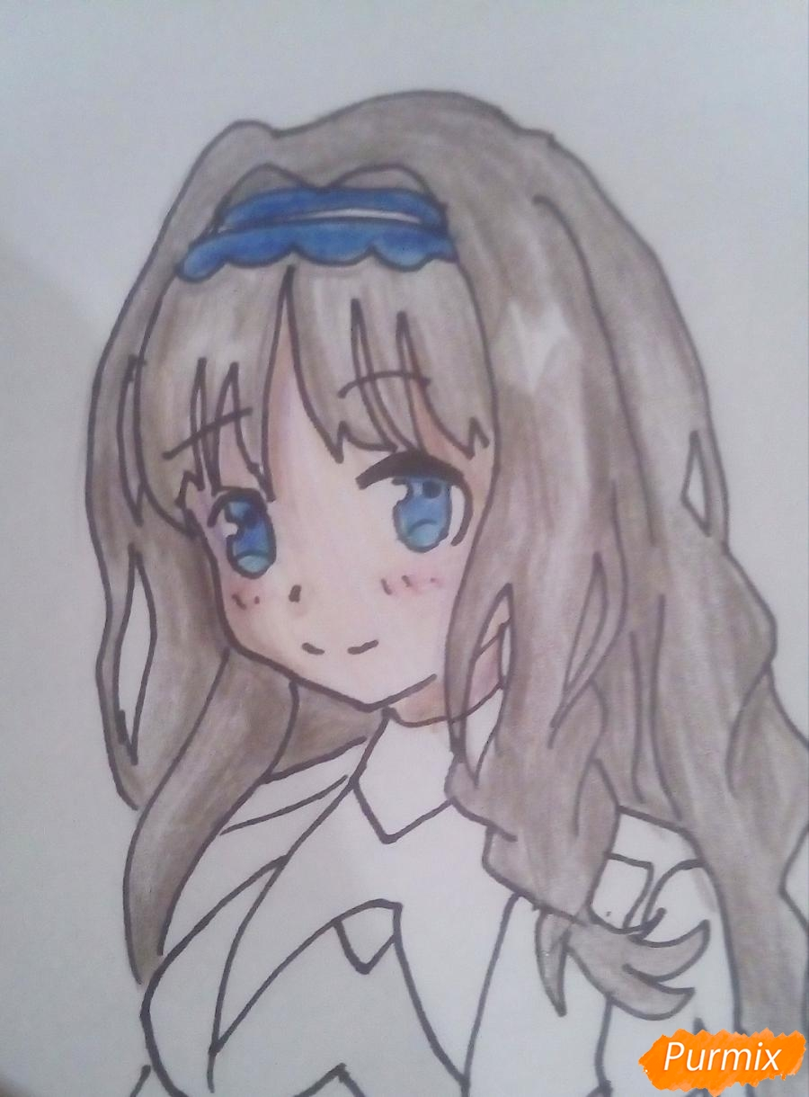 Рисуем Кокоро (556) из аниме Милый Во Франксе карандашами - шаг 8
