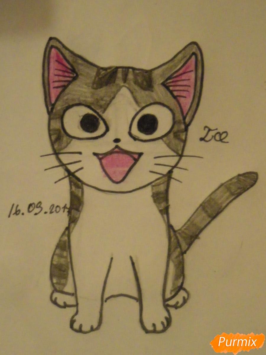 Рисуем кота Чии из аниме Милый дом Чии карандашами - шаг 7