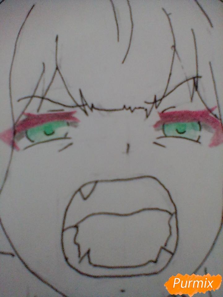 Рисуем кричащую аниме девушку карандашами - шаг 12