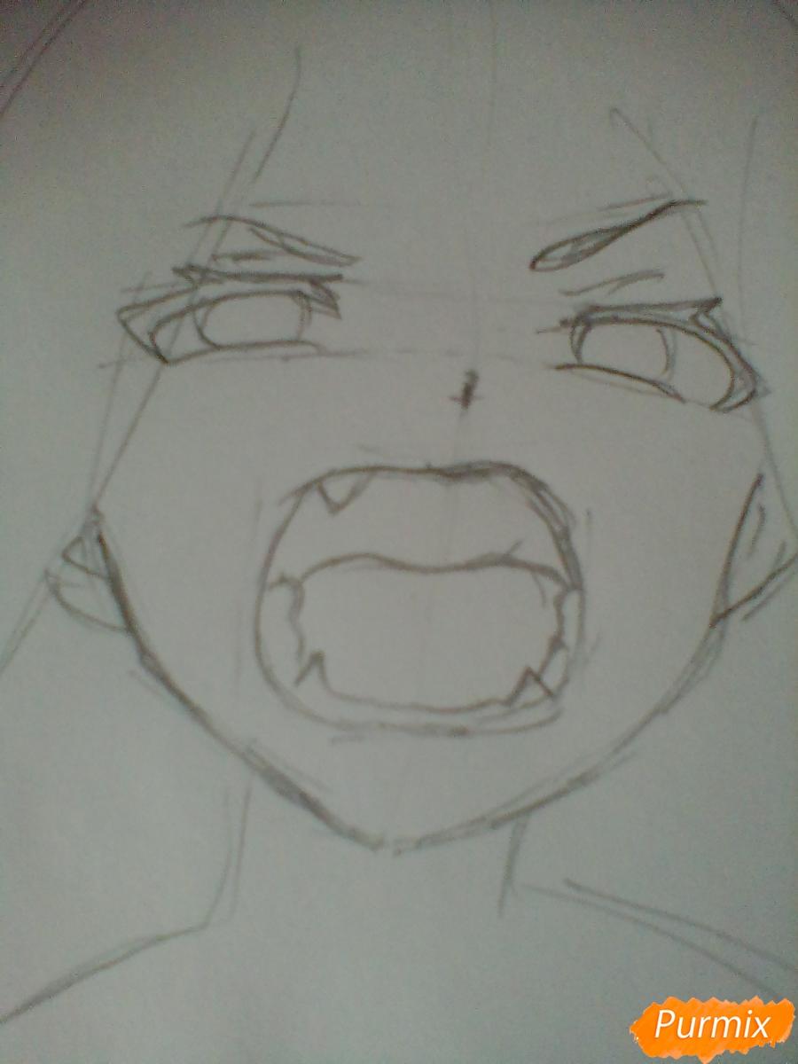 Рисуем кричащую аниме девушку карандашами - шаг 3