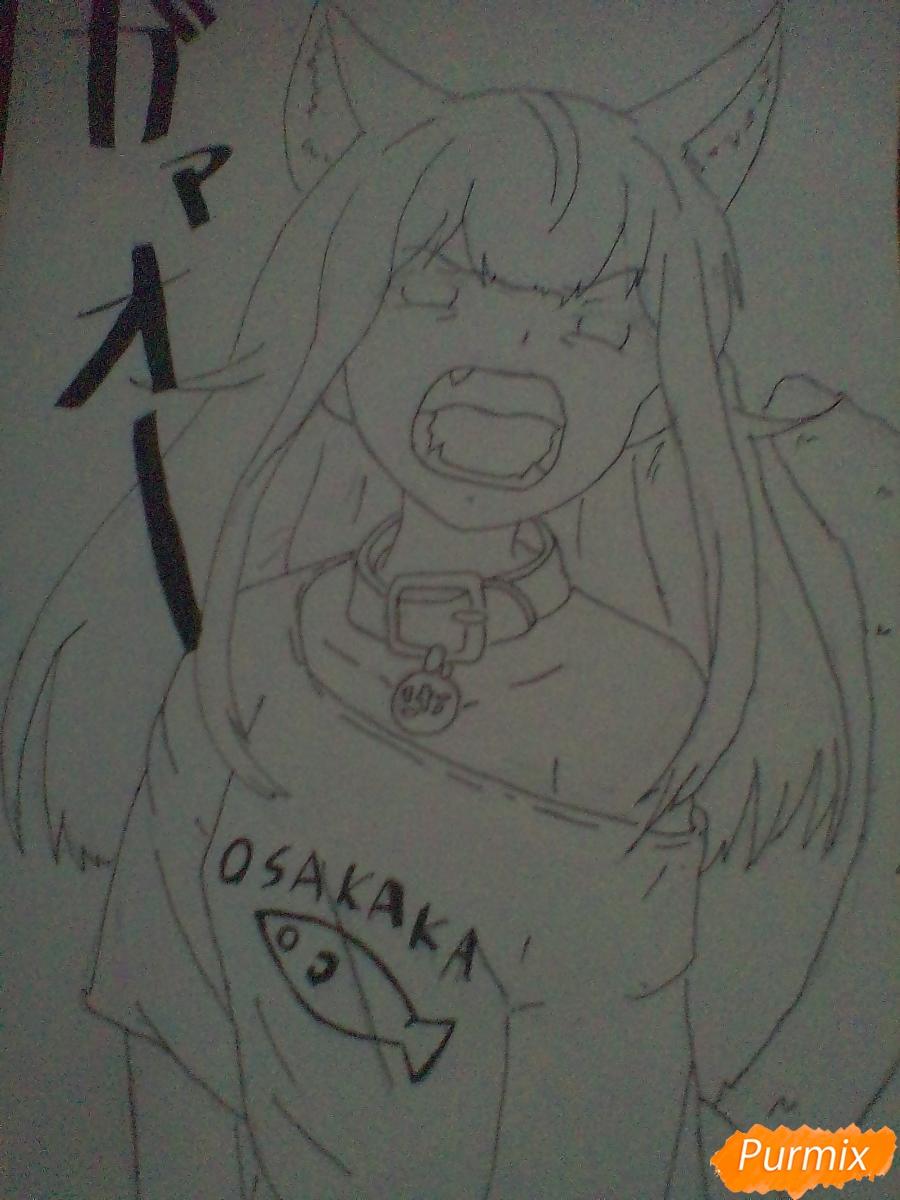 Рисуем кричащую аниме девушку карандашами - шаг 9