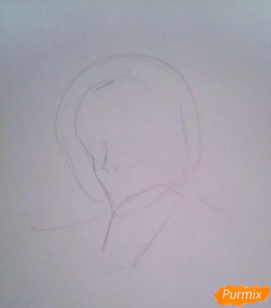 Рисуем Кроули Юсфорда из аниме Последний Серафим карандашами - шаг 1