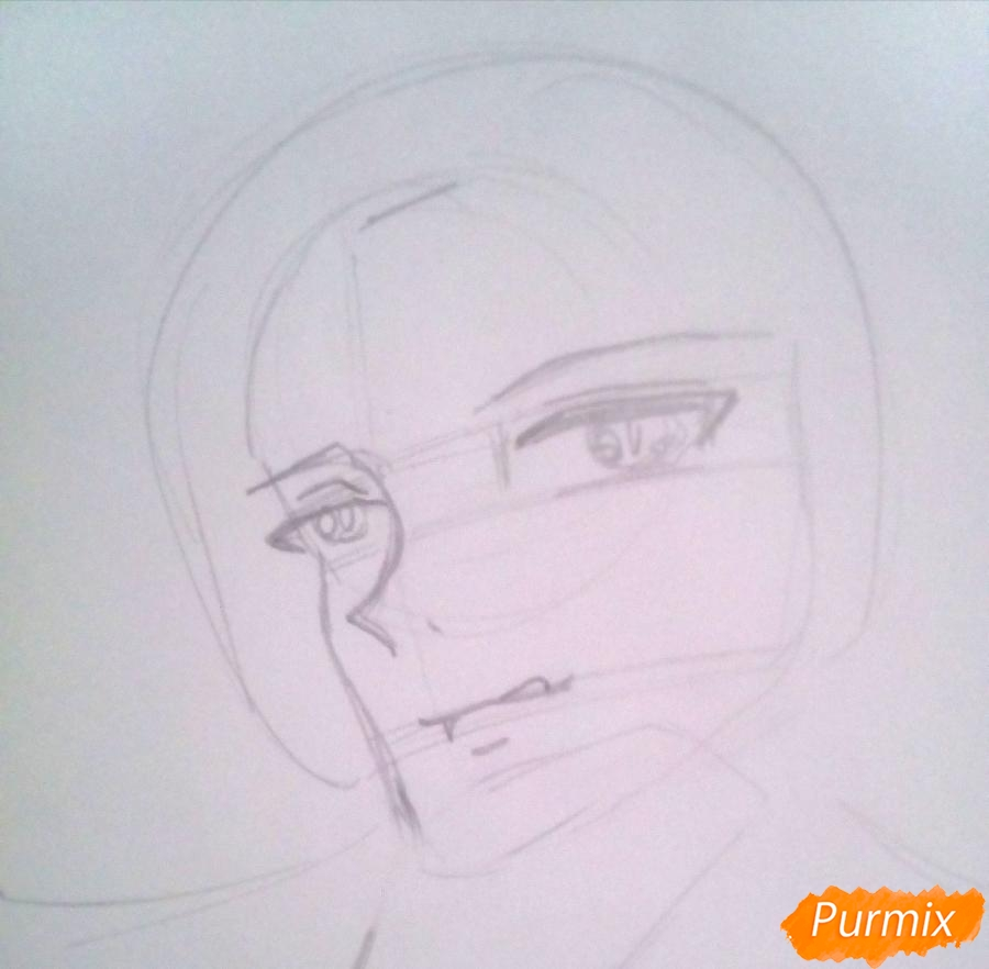 Рисуем Кроули Юсфорда из аниме Последний Серафим карандашами - шаг 3