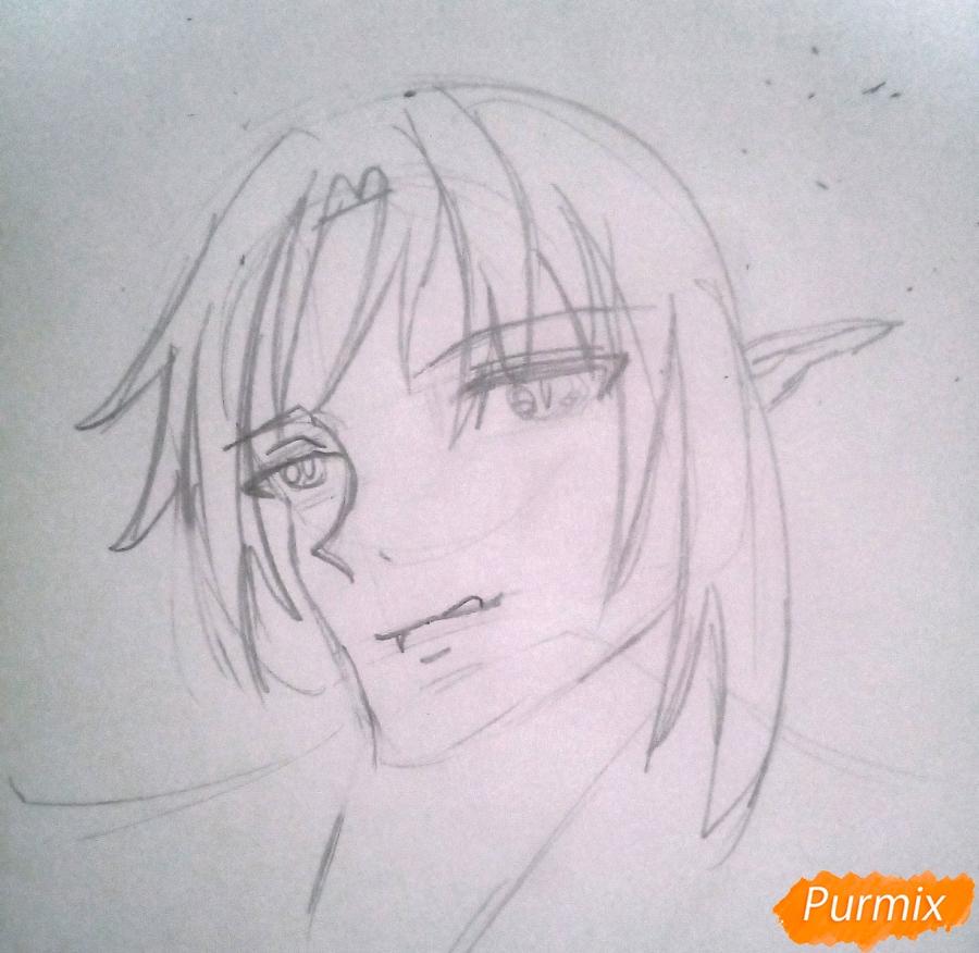 Рисуем Кроули Юсфорда из аниме Последний Серафим карандашами - шаг 4