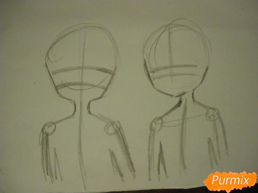 Рисуем Курияму Мирай и Ай Синдо из аниме за гранью карандашами - шаг 1