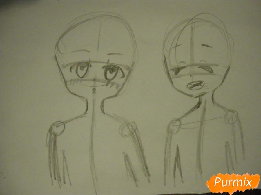 Рисуем Курияму Мирай и Ай Синдо из аниме за гранью карандашами - шаг 2