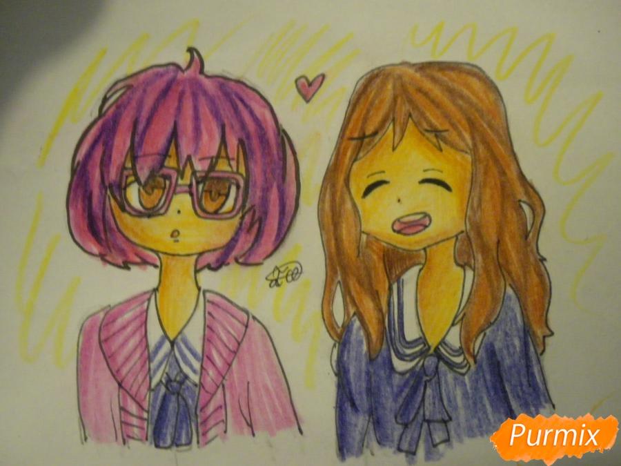 Рисуем Курияму Мирай и Ай Синдо из аниме за гранью карандашами - шаг 8