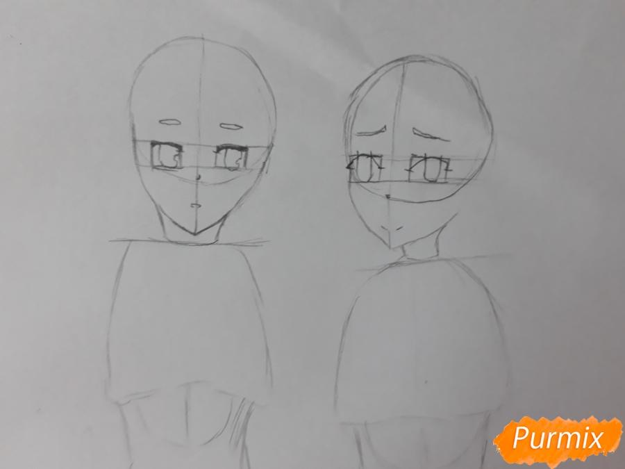 Рисуем Курияму Мирай и Мицуки Насэ из аниме За гранью - шаг 3