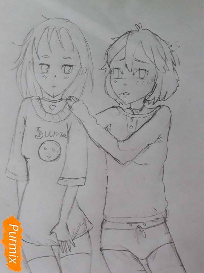 Рисуем Курияму Мирай и Мицуки Насэ из аниме За гранью - шаг 7