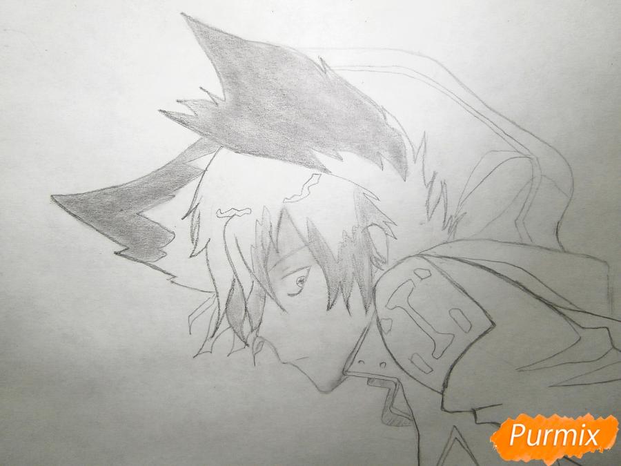 Рисуем Куро, слугу-вампира Лень из аниме Сервамп - шаг 5