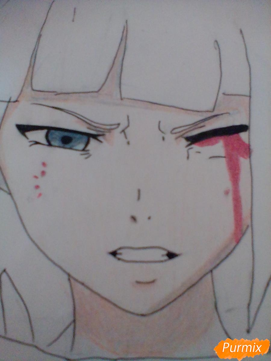 Рисуем Курону Ясухису из аниме Токийский гуль - шаг 6