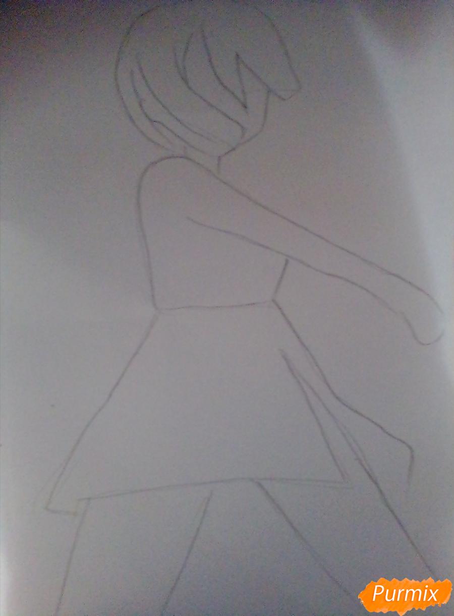 Рисуем Куруми Эбисузаву из аниме Школьная жизнь карандашами - шаг 1