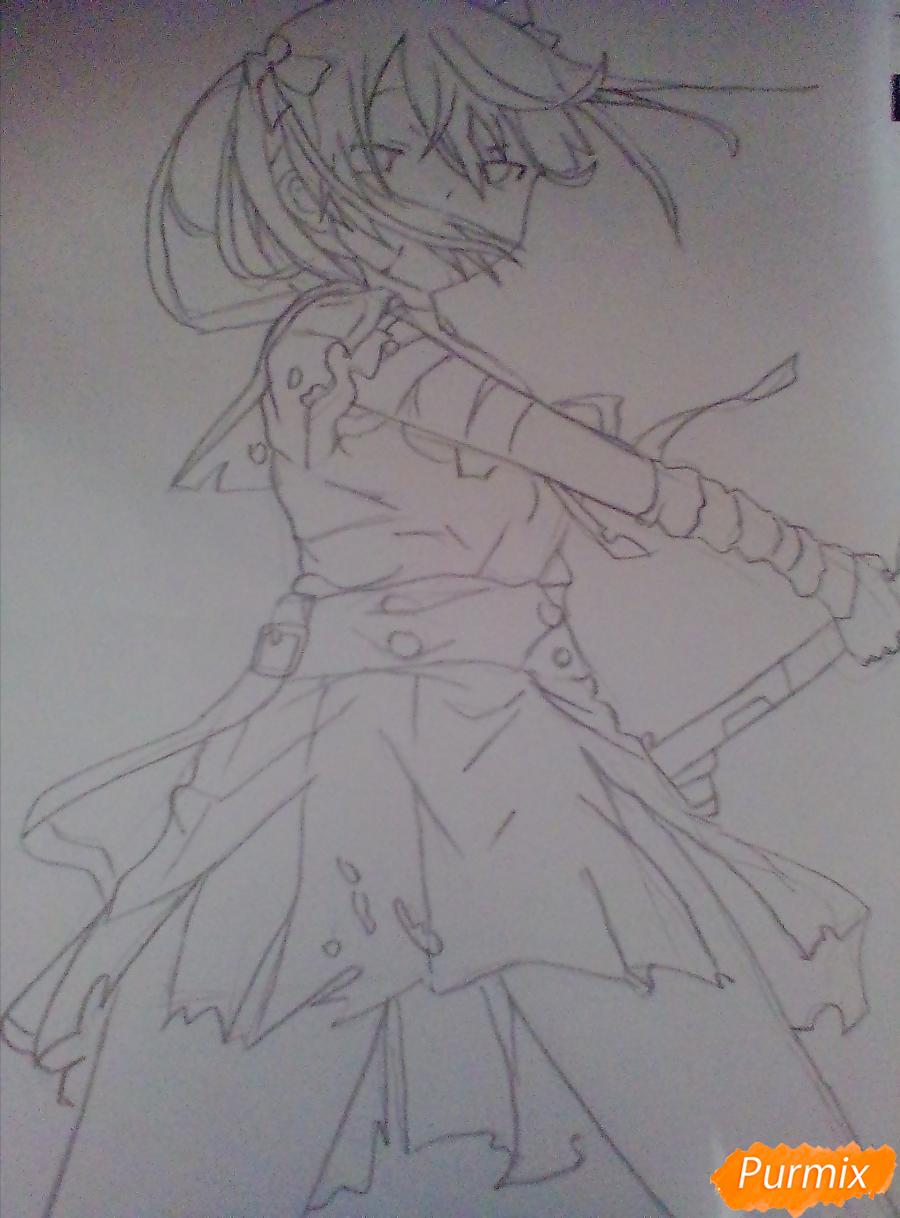 Рисуем Куруми Эбисузаву из аниме Школьная жизнь карандашами - шаг 3