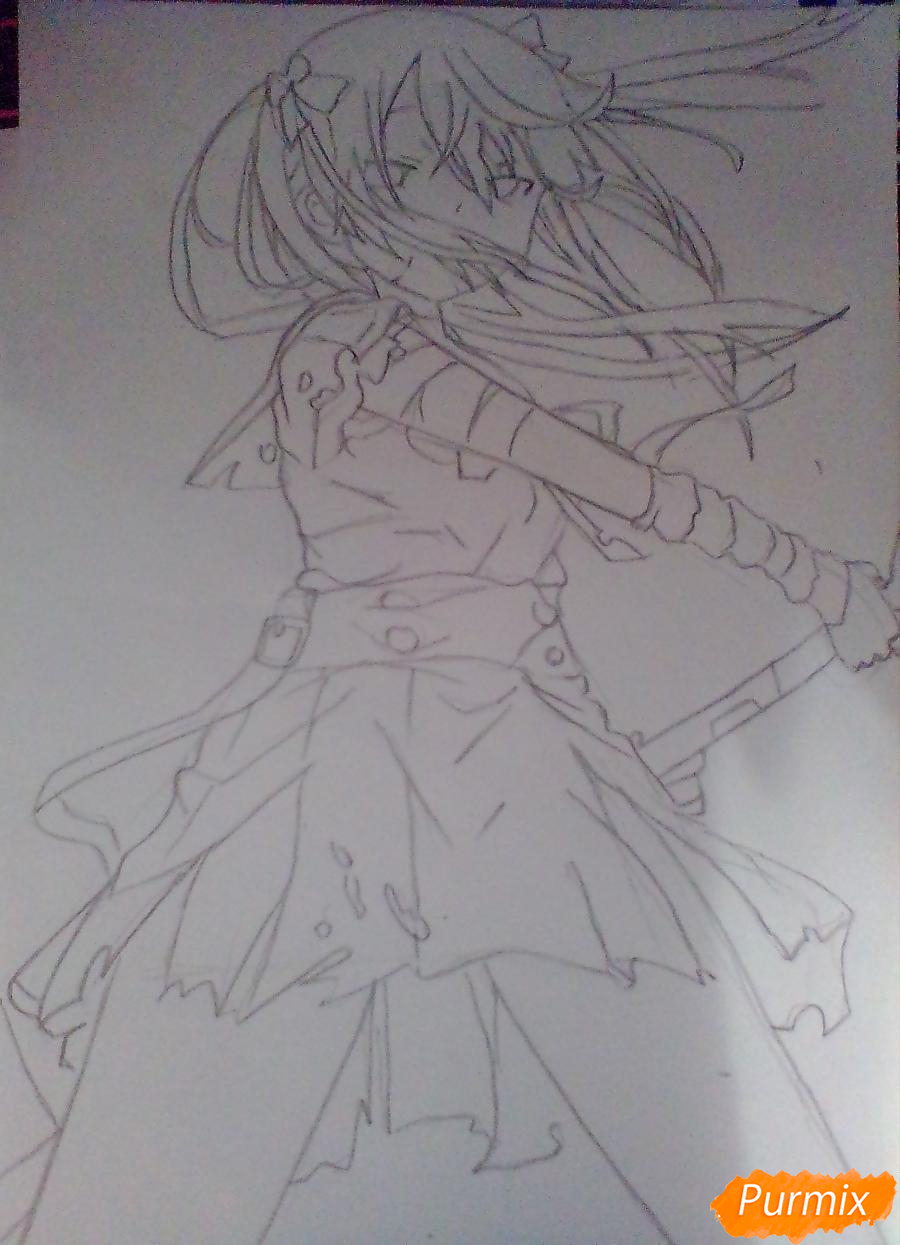 Рисуем Куруми Эбисузаву из аниме Школьная жизнь карандашами - шаг 4