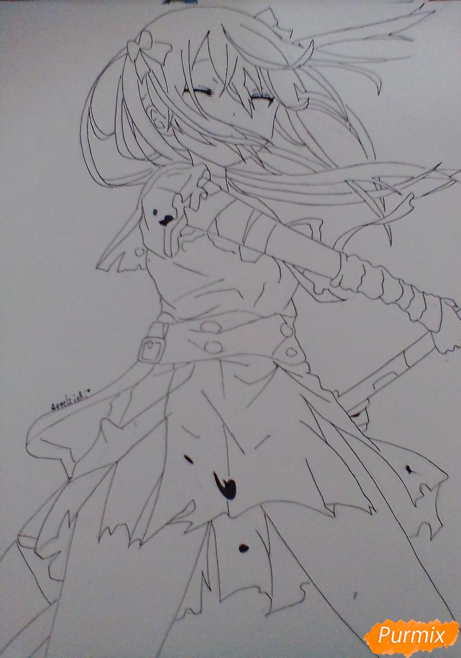Рисуем Куруми Эбисузаву из аниме Школьная жизнь карандашами - шаг 5
