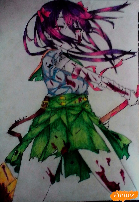Рисуем Куруми Эбисузаву из аниме Школьная жизнь карандашами - шаг 7