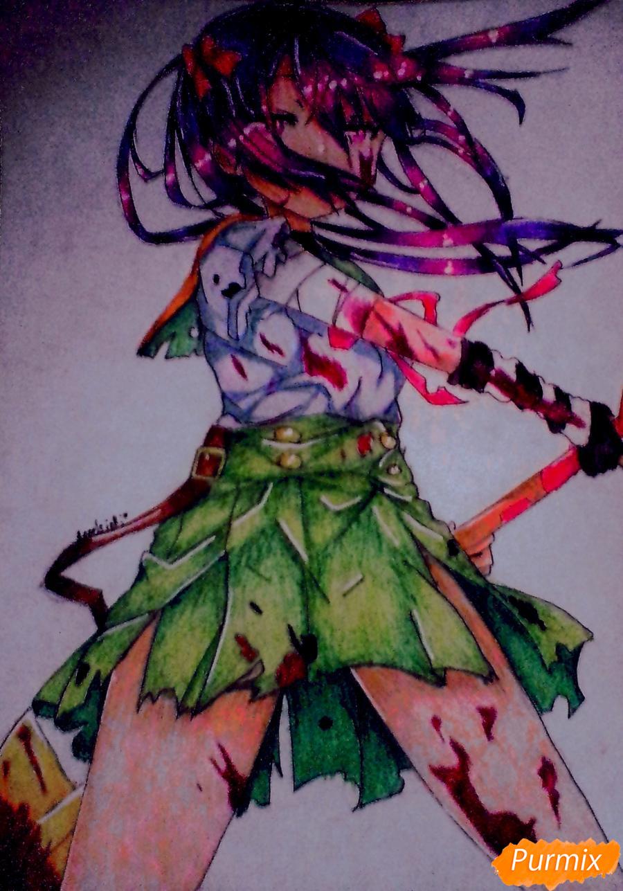 Как нарисовать Куруми Эбисузаву из аниме Школьная жизнь карандашами