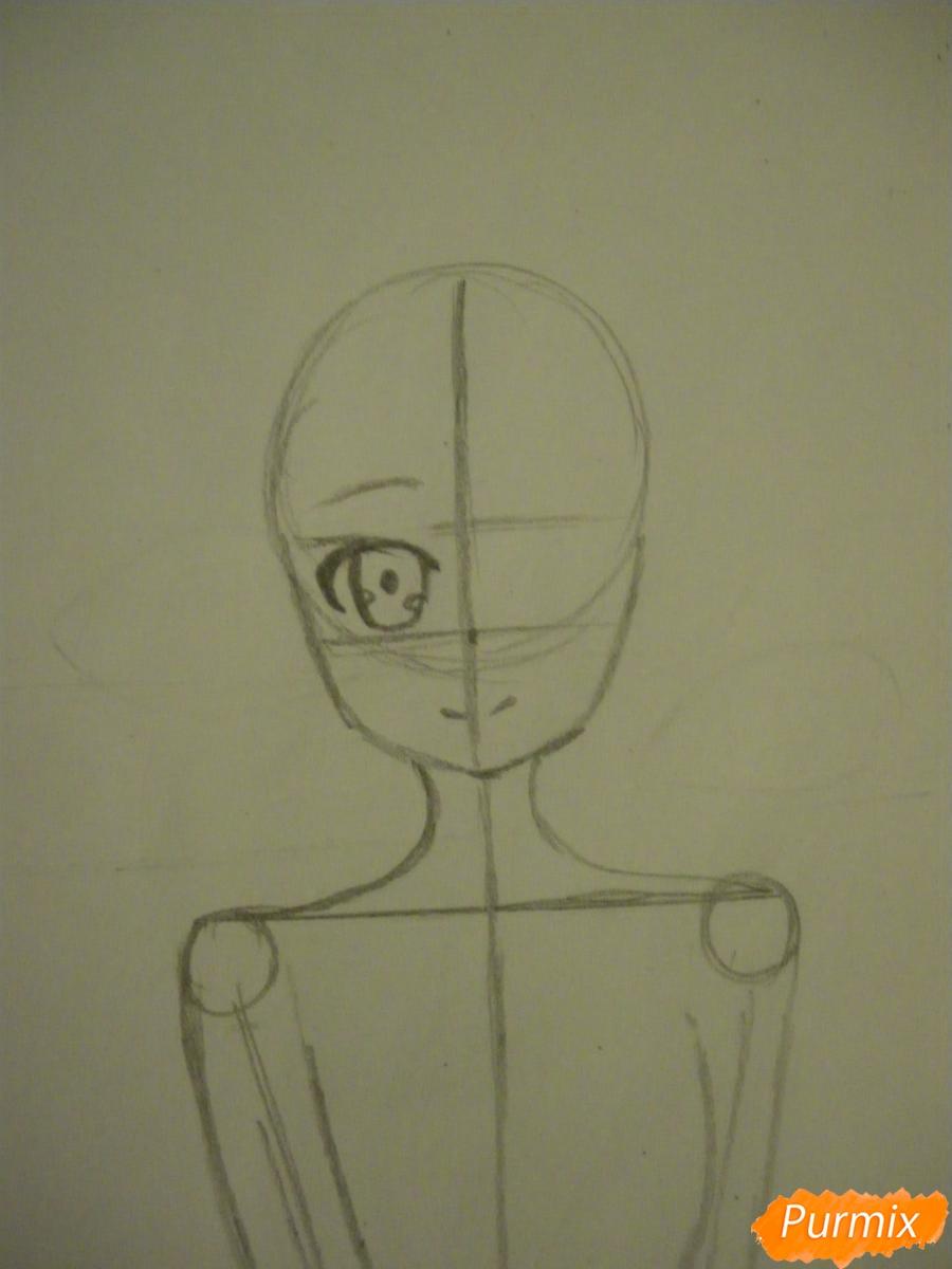 Рисуем Куруми Токисаки из аниме Рандеву с жизнью - шаг 3