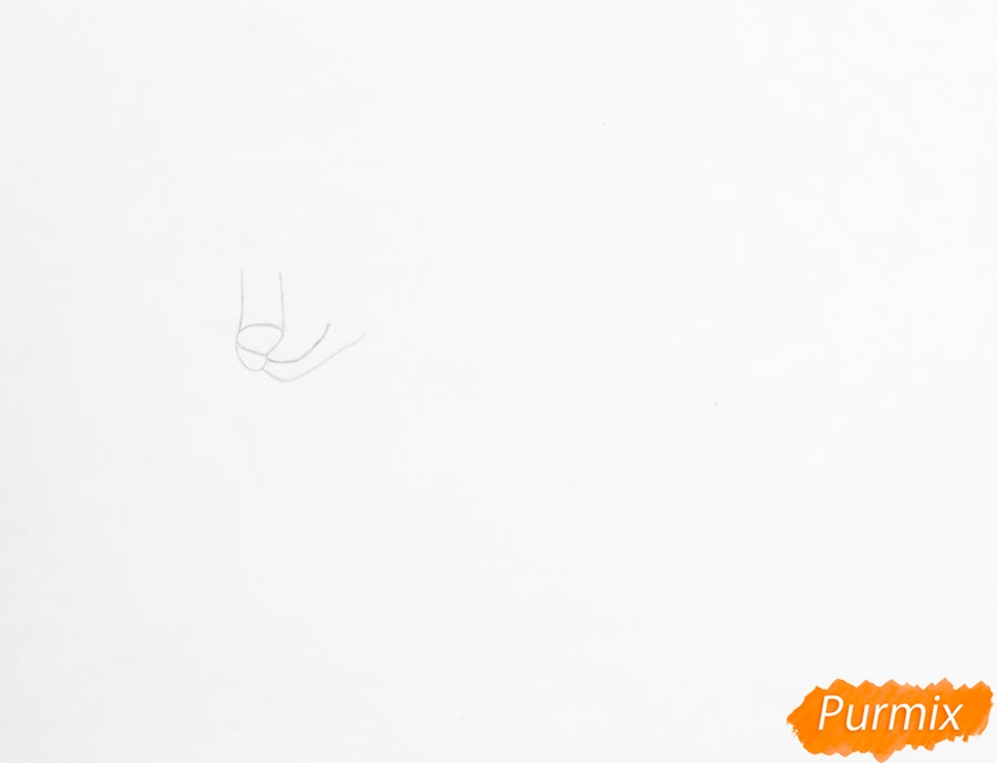 Рисуем лежащего трёхцветного аниме щеночка - шаг 1