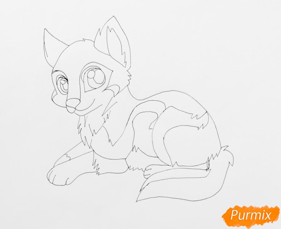 Рисуем лежащего трёхцветного аниме щеночка - шаг 7