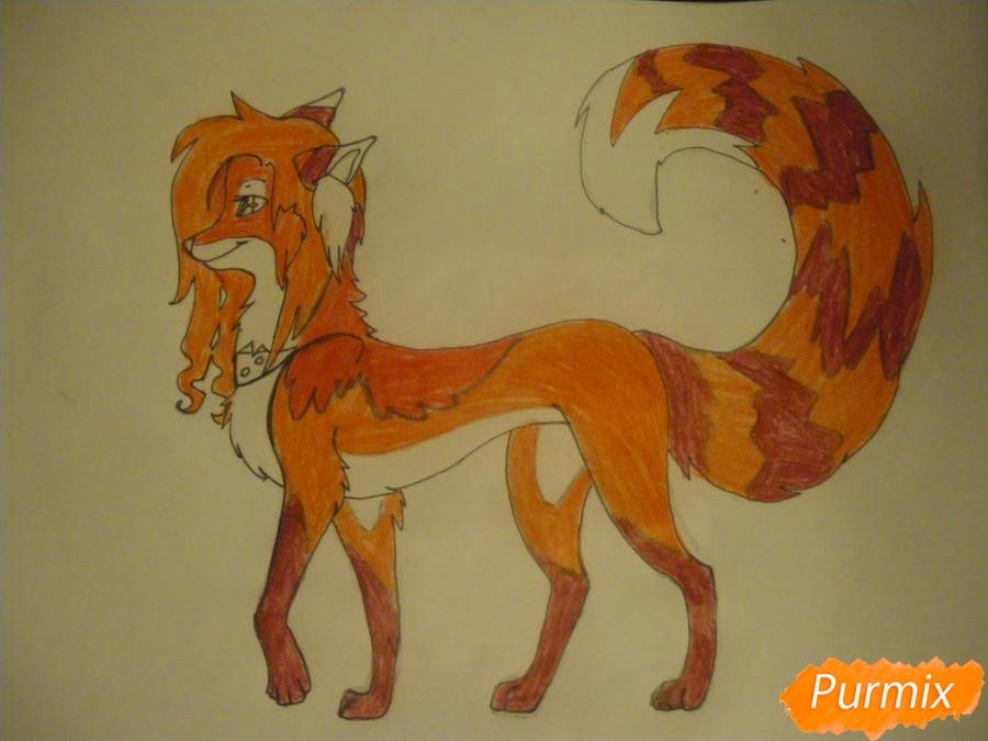 Рисуем лисичку Трикси в стиле аниме - шаг 11
