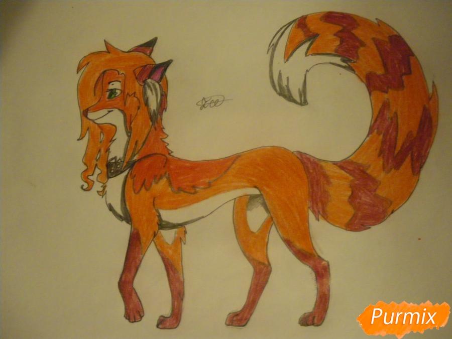 Рисуем лисичку Трикси в стиле аниме - шаг 12