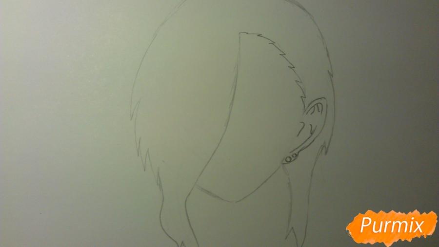 Рисуем Люцифера из аниме Сатана на подработке карандашами - шаг 2