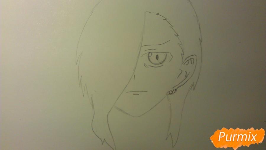 Рисуем Люцифера из аниме Сатана на подработке карандашами - шаг 3