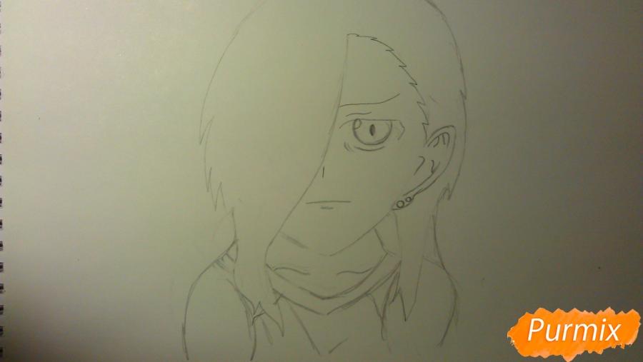 Рисуем Люцифера из аниме Сатана на подработке карандашами - шаг 4