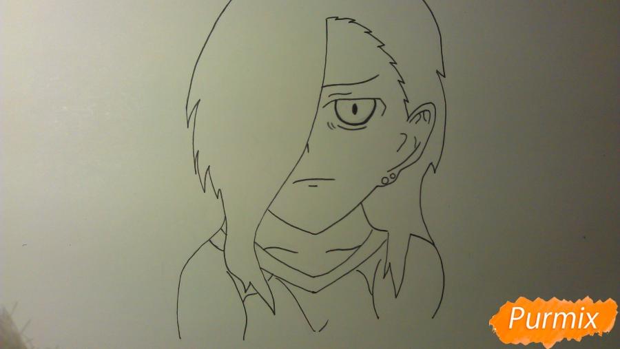Рисуем Люцифера из аниме Сатана на подработке карандашами - шаг 5