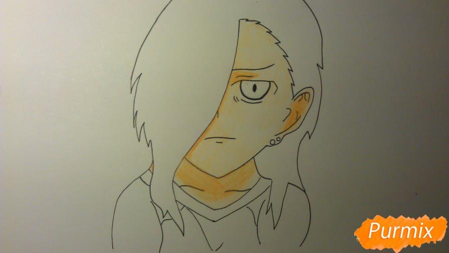 Рисуем Люцифера из аниме Сатана на подработке карандашами - шаг 6