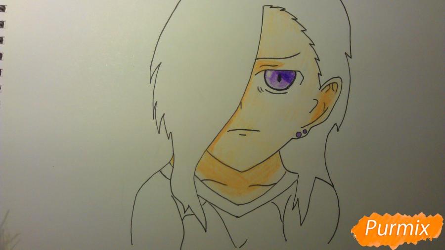 Рисуем Люцифера из аниме Сатана на подработке карандашами - шаг 7