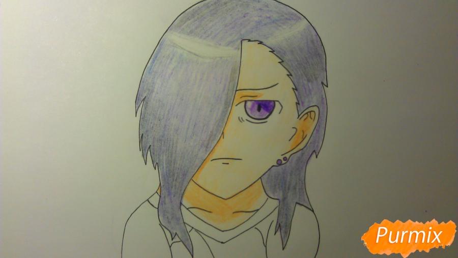 Рисуем Люцифера из аниме Сатана на подработке карандашами - шаг 8