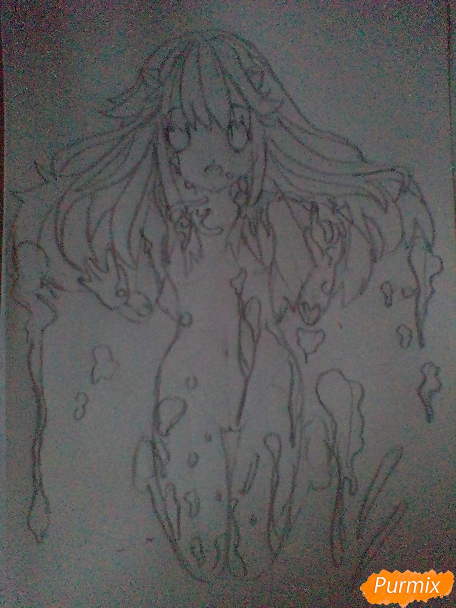 Рисуем Люси из аниме Эльфийская песнь - шаг 3