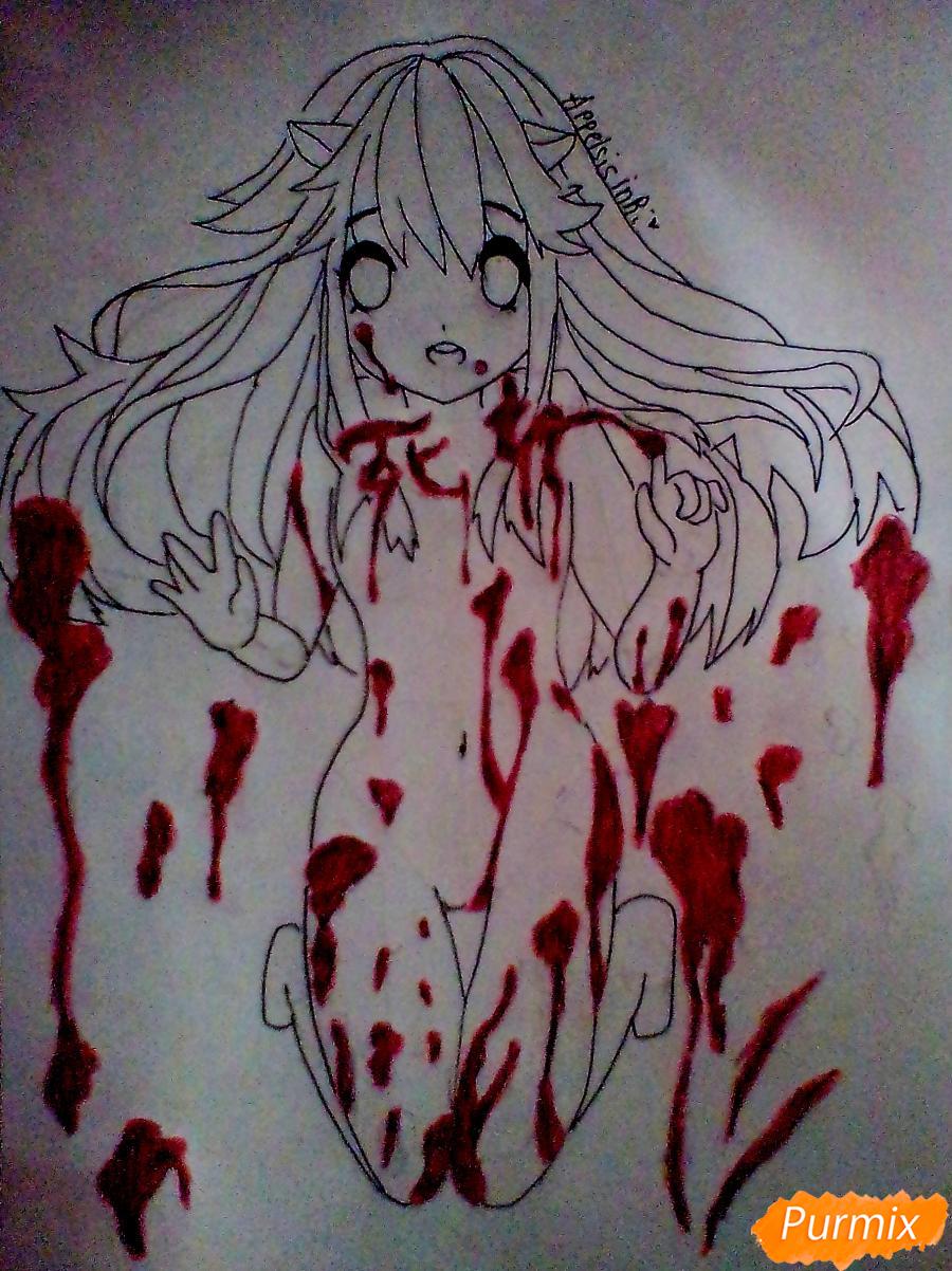 Рисуем Люси из аниме Эльфийская песнь - шаг 4