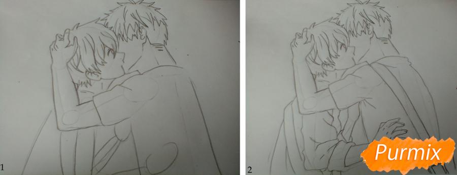 Рисуем Мафую и Уэнояму из аниме Дарованный - шаг 2