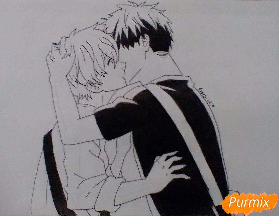Рисуем Мафую и Уэнояму из аниме Дарованный - шаг 3