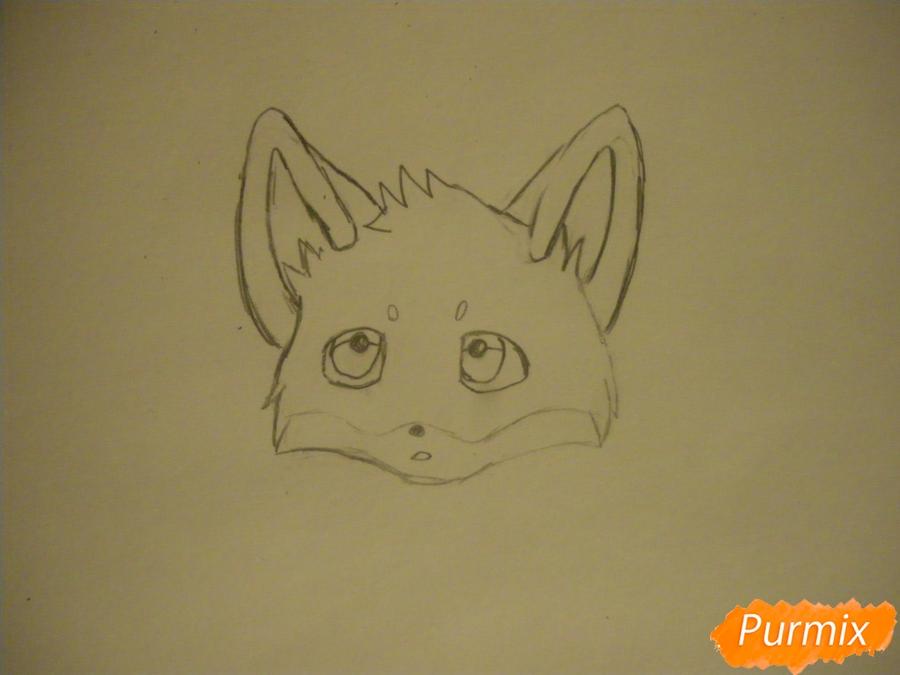 Рисуем маленького аниме лисёнка - шаг 2