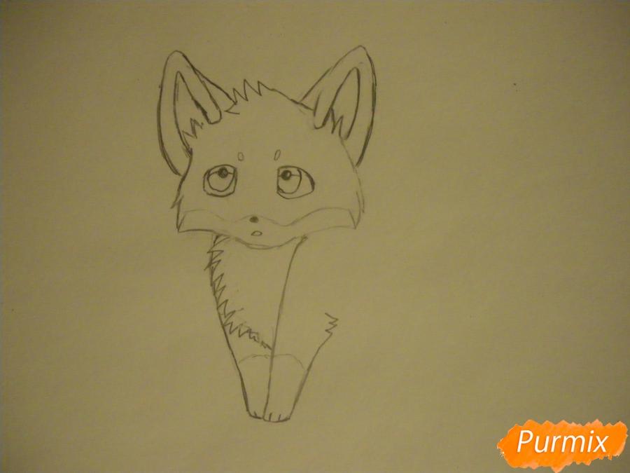Рисуем маленького аниме лисёнка - шаг 3