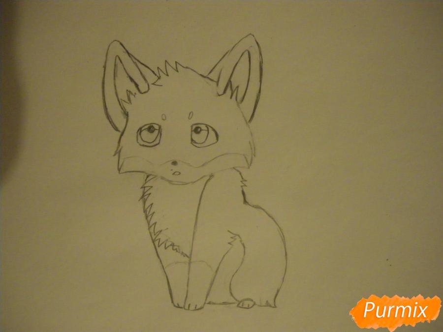 Рисуем маленького аниме лисёнка - шаг 4
