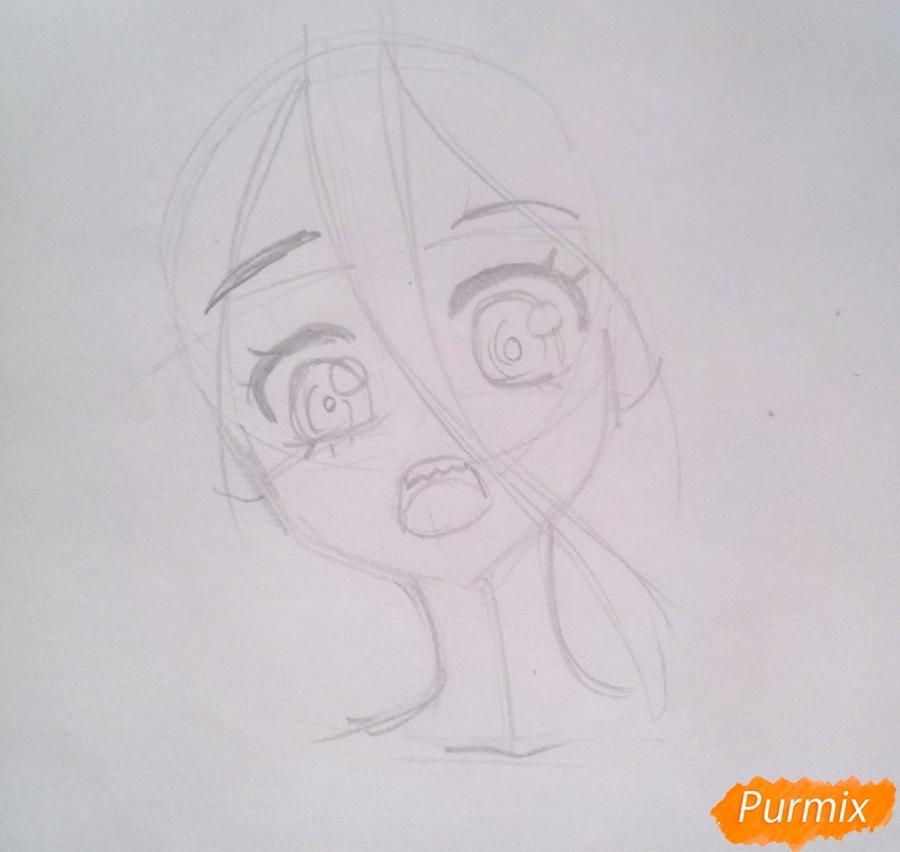 Рисуем маленькую Зеро Ту из аниме Милый Во Франксе карандашами - шаг 2
